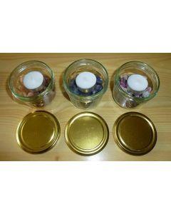 Teelicht Glas mit Sonnenstein Chips (200g), 1 Stück