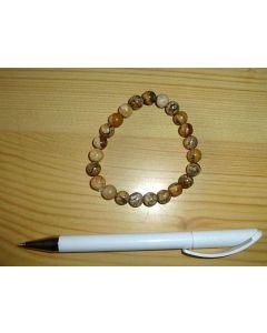 Armband, Landschaftjaspis, 8 mm Kugeln, 1 Stück