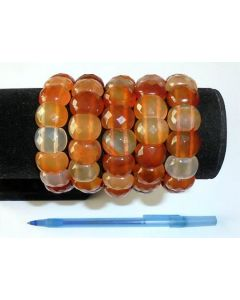 Armband mit Karneol-Elementen, rechteckig, facettiert, 10 x 10 mm, 1 Stück