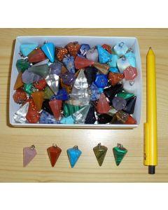 Edelstein Pendelanhänger, klein, bunt gemischt, 10 Stück