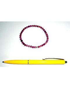 Armband, Turmalin (pink) und Echtsilberkugel, 5 mm Kugeln, facettiert, 1 Stück