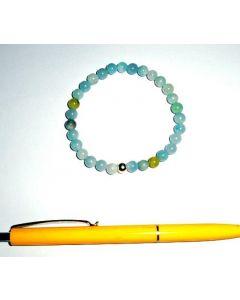 Armband, Aquamarin (B Ware) und Echtsilberkugel, 6 mm Kugeln, 1 Stück