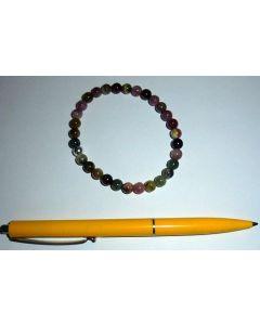 Armband, Turmalin (bunt) und Echtsilberkugel, 6 mm Kugeln, 1 Stück