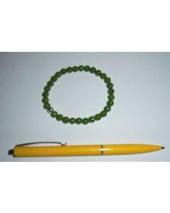 Armband, Jade und Echtsilberkugel, 6 mm Kugeln, 1 Stück