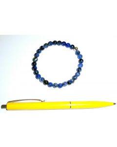 Armband, Sodalit und Echtsilberkugel, 6 mm Kugeln, facettiert, 1 Stück