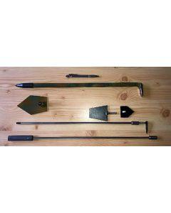 Strahlerwerkzeug Set, mit Strahlstock, Meißel, Hacke, Kluftarm und Aufsätzen