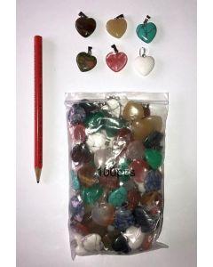 Edelstein-Anhänger (Kettenanhänger) Herz 20mm (Partie von 10 verschiedenen Sorten)
