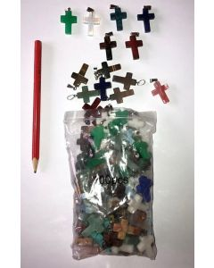 Anhänger, 2,5 cm (Kreuz mit Öse) 10 Stück bunt gemischt
