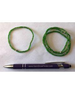 Armband, Chrom-Diopsid (facettiert) und Echtsilberkugel, 4 mm Kugeln, 1 Stück