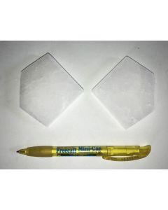 Selenit, weiß, Chakra Scheibe, 7 cm, Pentagon, poliert, 1 Stück