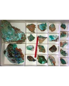Azurit xx, Aurichalcit, Gibbsit,  Hilarion Mine, Laurion, Griechenland, 1 Steige