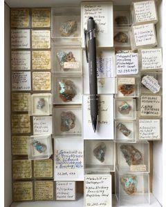 Gemischte Mineralien aus dem Bergischen Land, Deutschland, 1 Partie mit 56 Stück.