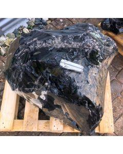 Obsidian (schwarz, mit Lamellen + Silber, transparent!) Armenien, 280 kg
