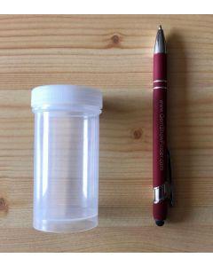 Schraubdeckeldose, Zylinderdose, 8,5 cm hoch, Durchmesser 4,2 cm, transparent, 10 Stück