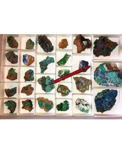 Azurit xx, Konichalcit etc.,  Hilarion Mine, Laurion, Griechenland, 1 Steige