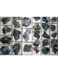 Challacolloite xx, Hephaistosite xx, Cannizzarite xx, Bismuthinite xx, Vulcano, Lipari Islands, Italy, 1 flat top end