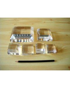"""Acrylic bases, fully polished, 2 x 2 x 3/4"""", 1/2"""" bevel, pack of 5 pcs. (BV2hx5)"""
