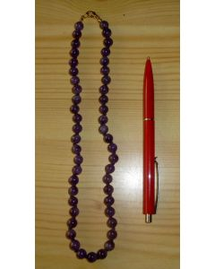 Necklace with 6 mm amethyst (top colour!) spheres, 45 cm long, 1 piece