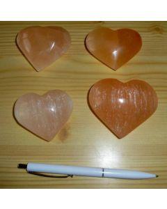 Selenite heart, orange, app. 7 cm, 1 piece