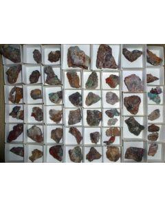 Ashburtonite xx, Caledonite xx, Linarite xx etc., Tonopah-Belmont Mine, AZ, USA, 1 flat