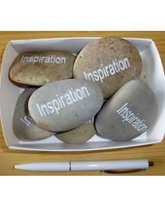 """natural river rock with engraving """"inspiration"""" 1 piece"""