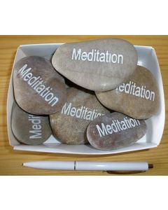 """natural river rock with engraving """"meditation"""" 1 piece"""