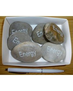"""natural river rock with engraving """"energy"""" 1 piece"""