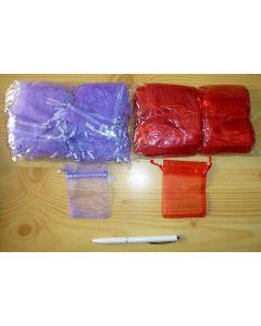 "Jewellery bags ""Organza"" purple 100 piece"