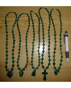 Malachite necklace with round or oval pendant, 1st choice! (hand made in the Congo) 1 piece