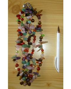 Necklace 45 cm with 3 strings, mix of real stones with zirconia, 1 piece