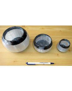 Orthoceras/Selenite candle ligth large, black/white, app. 10 cm, 1 piece
