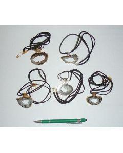Geode slice electroplated (golden), necklace