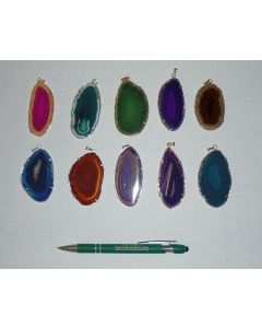 Agate-slice with metal setting (golden/silver) 10 pieces
