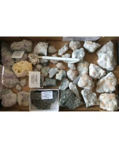 Amethyst xx, Pyrite etc., Steinbruch Steinperf, Germany, 1 flat