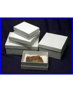 """3 1/2 x 2 1/2 x 3/4"""" 2 white cottone lined specimen & jewelry boxes. Case of 100."""