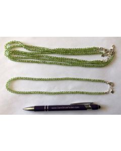 Necklace with 4 mm olivine-perodote spheres, facetted, 45 cm long, 1 piece