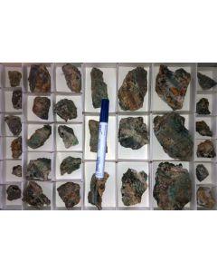 Chalconatronite crystals on matrix, Grube Glücksrad, Oberschulenberg, Harz, Germany, 1 flat