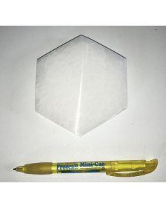 Selenite, white, Chakra disc, 10 cm, hexagonal, 1 piece