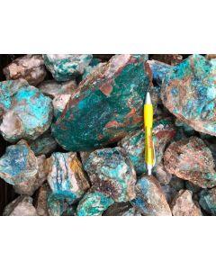 Dioptase, Shattuckite, Chrysocolla (mine run); Kaokoveld, Namibia, 1 kg