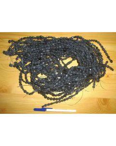 Bead string, Nephrite, green-black, dull, 40 cm, 1 piece