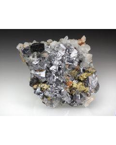 Galena, Pyrite, Arsenopyrite, Calcite, Rhodochrosite etc. sulphide crystals on matrix, Trepca, Kosovo, 1 flat with 4-8 specimen