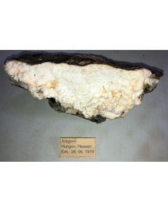 Aragonite on Basalt, Hungen, Hessen, Germany; GS