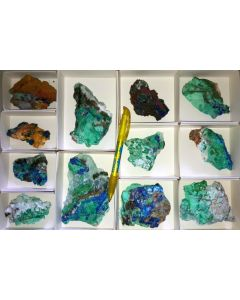 Azurite + Conichalcite xx, Hilarion Mine, Laurion, Greece, 1 flat