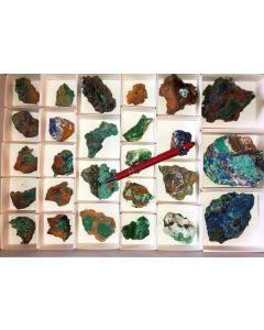 Azuritexx, Conichalcit etc., Hilarion Mine, Laurion, Greece, 1 flat