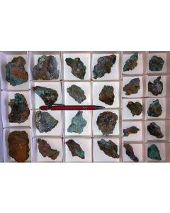 Linarite xx, Namuwite xx, Serpierite xx etc., Hilarion Mine, Laurion, Greece, 1 flat
