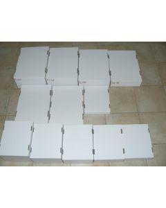Falt-Wellpappen-Umkartons (weiß, zum Falten, halbe Größe) 5,0 cm hoch, 100 Stück